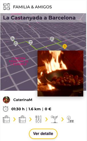 Tarjeta de ruta La Castanyada a Barcelona en eXplorins app