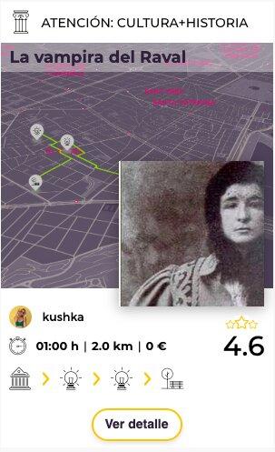 Tarjeta de ruta l avampira del Raval en explorins app