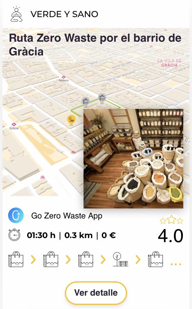vista tarjeta de ruta Zero Waste por el barrio de Gràcia