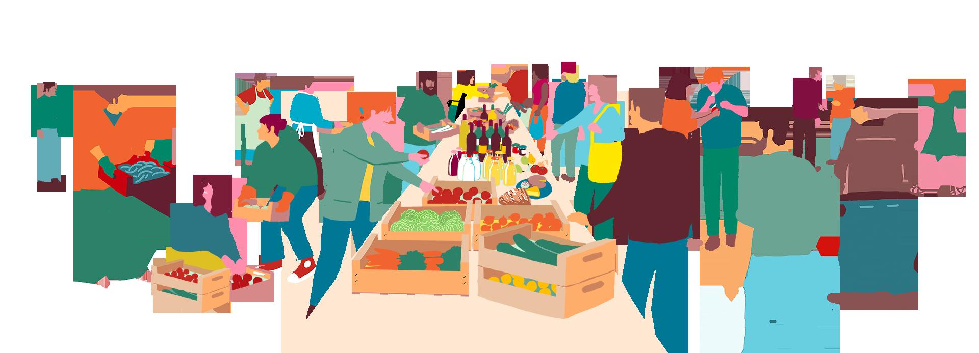 Personas comprando y vendiendo en La Colmena Que Dice Sí ilustración colores