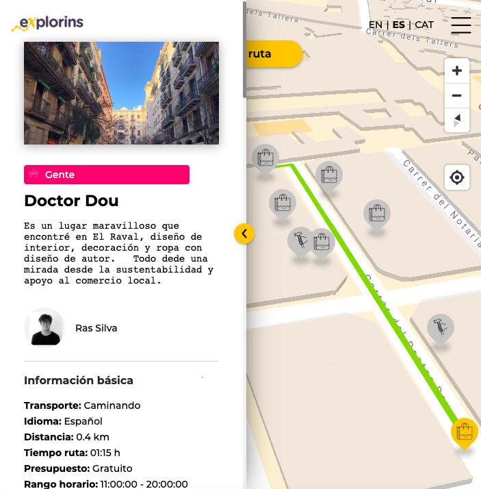 Vista de ruta eXplorins Dr. Dou